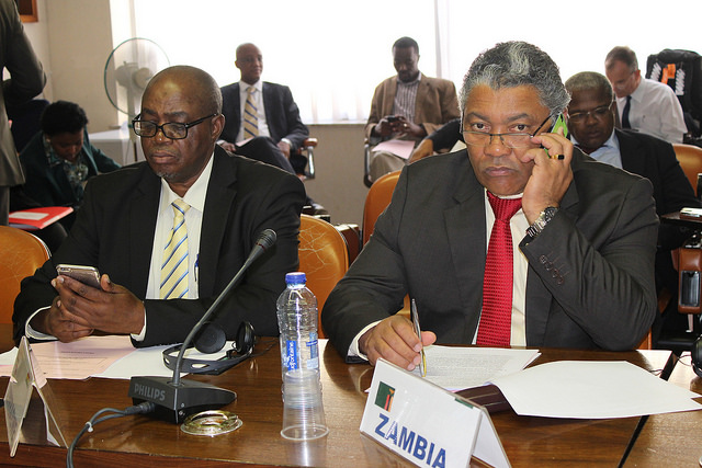 Zambia's Minister of Agriculture and Livestock, Given Lubinda during the 4th ACP Fisheries & Aquaculture Ministerial Meeting in Brussels - July 2015